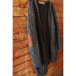 Zara knit long grey cardigan with elbow patch.